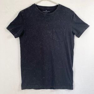 American Eagle Black Distressed Short Sleeve Shirt